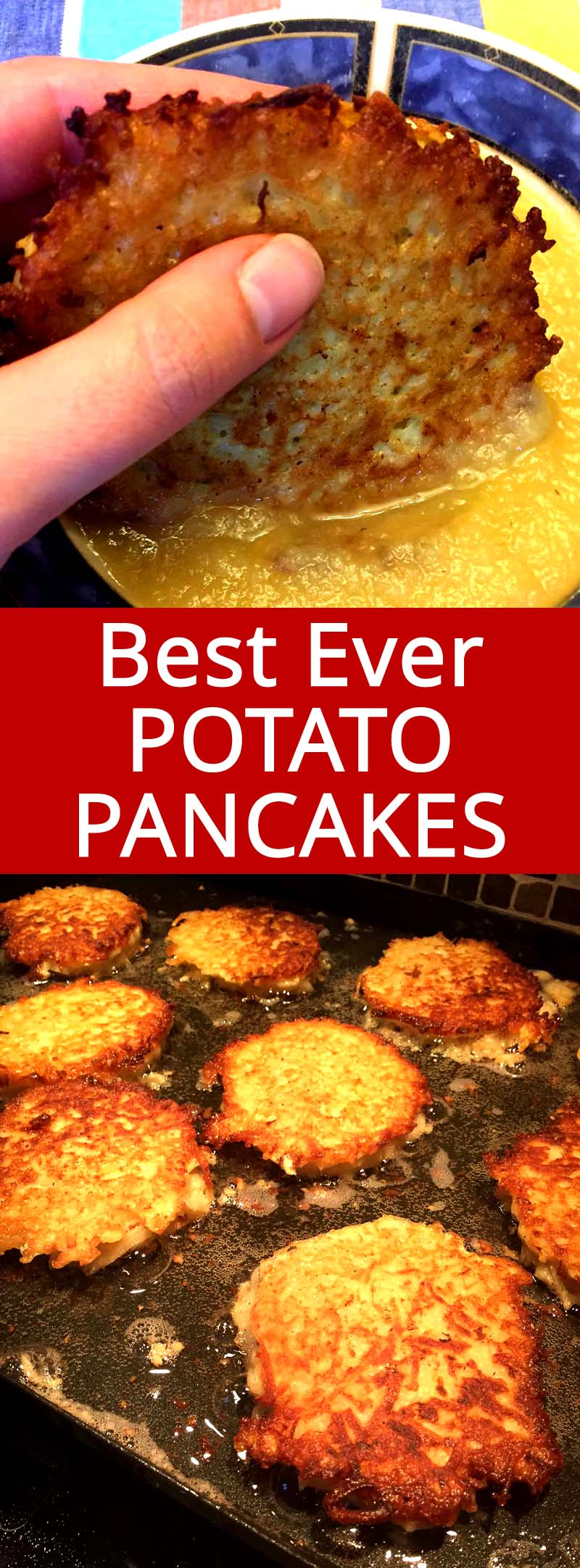 These homemade potato pancakes are amazing! So crispy and addictive, I can eat the whole batch at once! This recipe makes authentic Jewish latkes potato pancakes - best ever!
