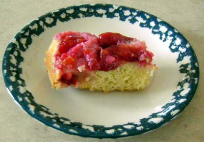 a slice of delicious plum cake