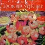 bag of frozen medium cooked shrimp tail off