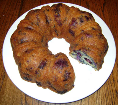blueberry-bundt-cake - already started slicing it