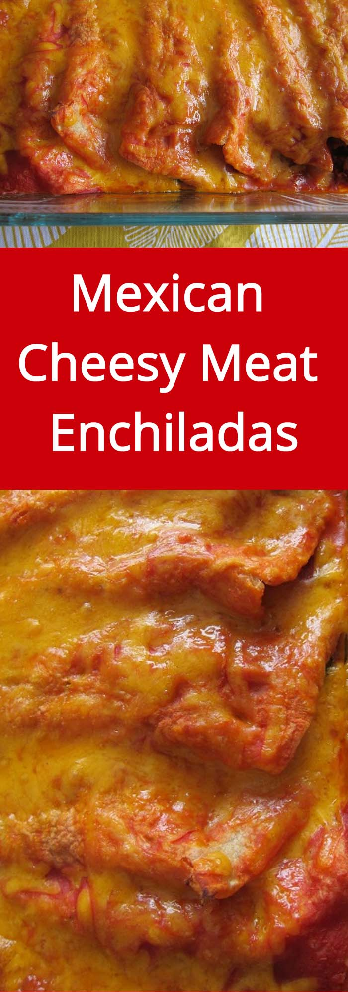 Mexican Cheesy Meat Enchiladas - hot, yummy, with melted cheese - love these!   MelanieCooks.com