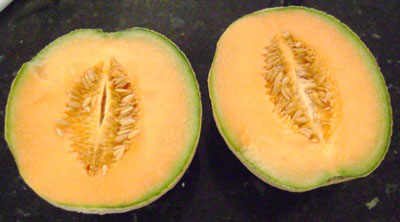Cut a cantaloupe in half