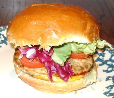 Turkey Cheeseburger On Brioche Bun