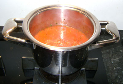 Tomato sauce on the stove