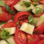 salad with tomatoes, cucumbers and cilantro