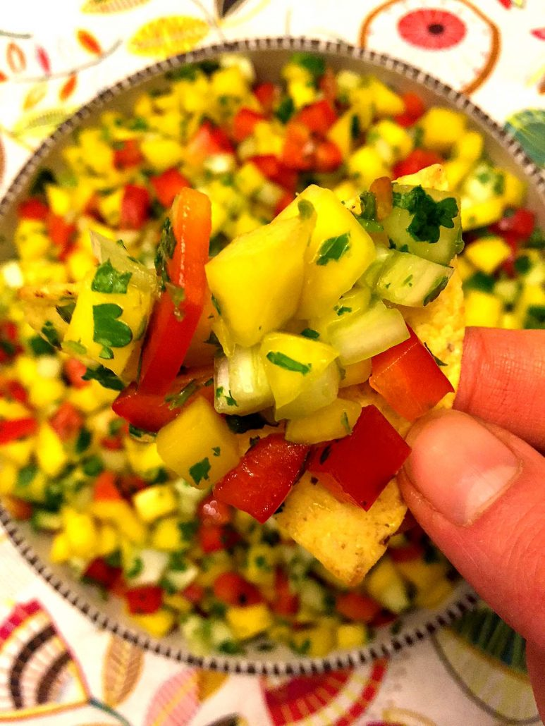 Mango Salsa With Bell Pepper Onions Cilantro