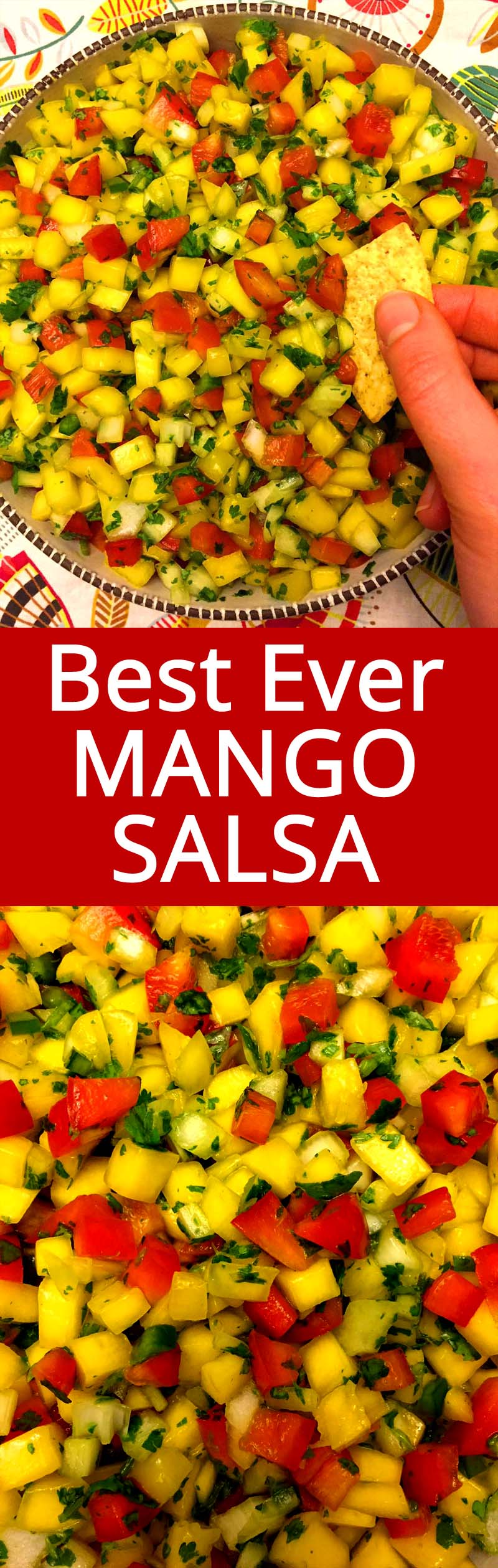 This is the best mango salsa recipe ever! I can eat a huge bowl in one sitting!  Mango salsa is so addictive!