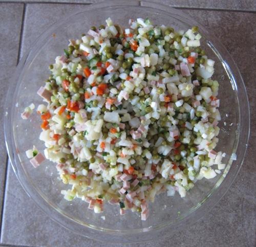 salad olivier before adding mayo