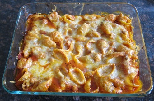 Baked Pasta Shells Casserole Recipe With Ground Meat And Ricotta Cheese