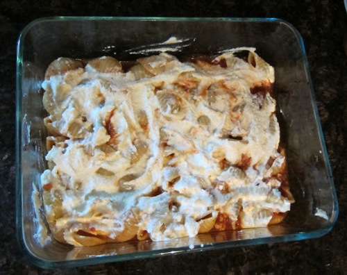 ricotta layer of the pasta casserole