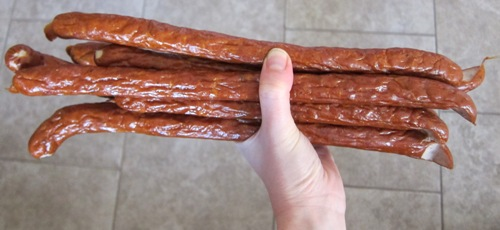 a bunch of chicken kabanos sausage