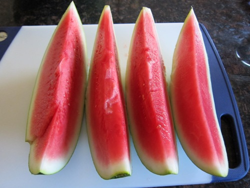 watermelon cut into long slices