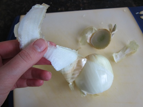 getting the peel off the onion