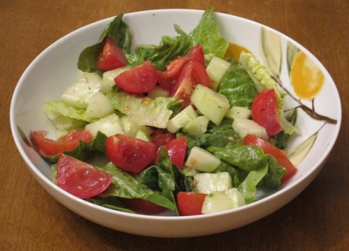 salad with tomatoes, cucumbers and lettuce