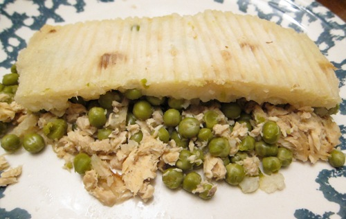 salmon shepherd's pie with green peas