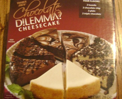 chocolate dilemma cheesecake from trader joe's store