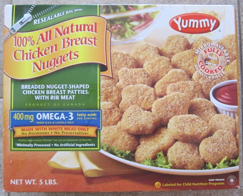 yummy brand chicken breast nuggets package