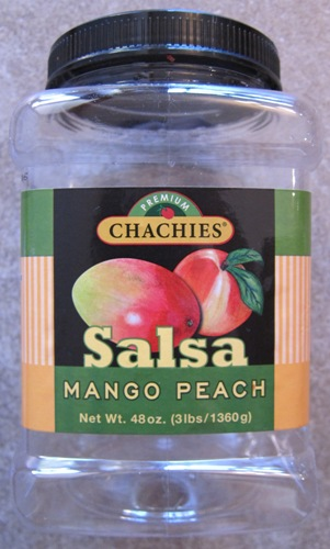 a jar of Chachies Mango Peach Salsa from Costco