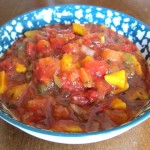 mango peach salsa in a bowl