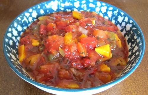 mango peach salsa in a bowl