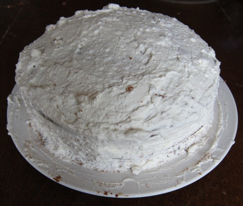 cake frosted with white vanilla whipped cream frosting