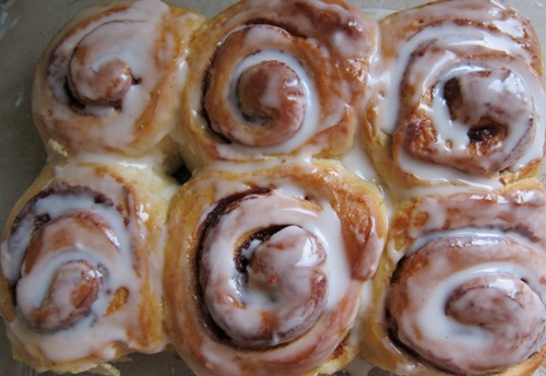 cinnamon rolls with white icing
