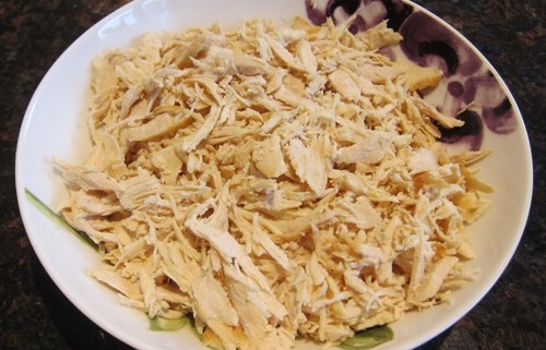 shredded chicken in a bowl