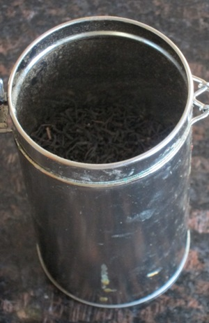 loose leaf tea in a container