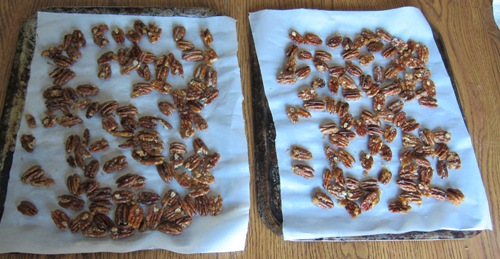 candied pecans right after cooking