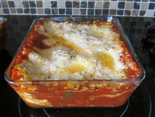 vegetable lasagna in a baking dish