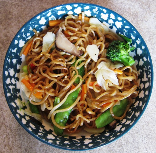 cooked Yakisoba noodles from Costco in a bowl