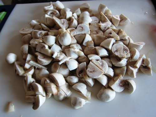 chopped white button mushrooms