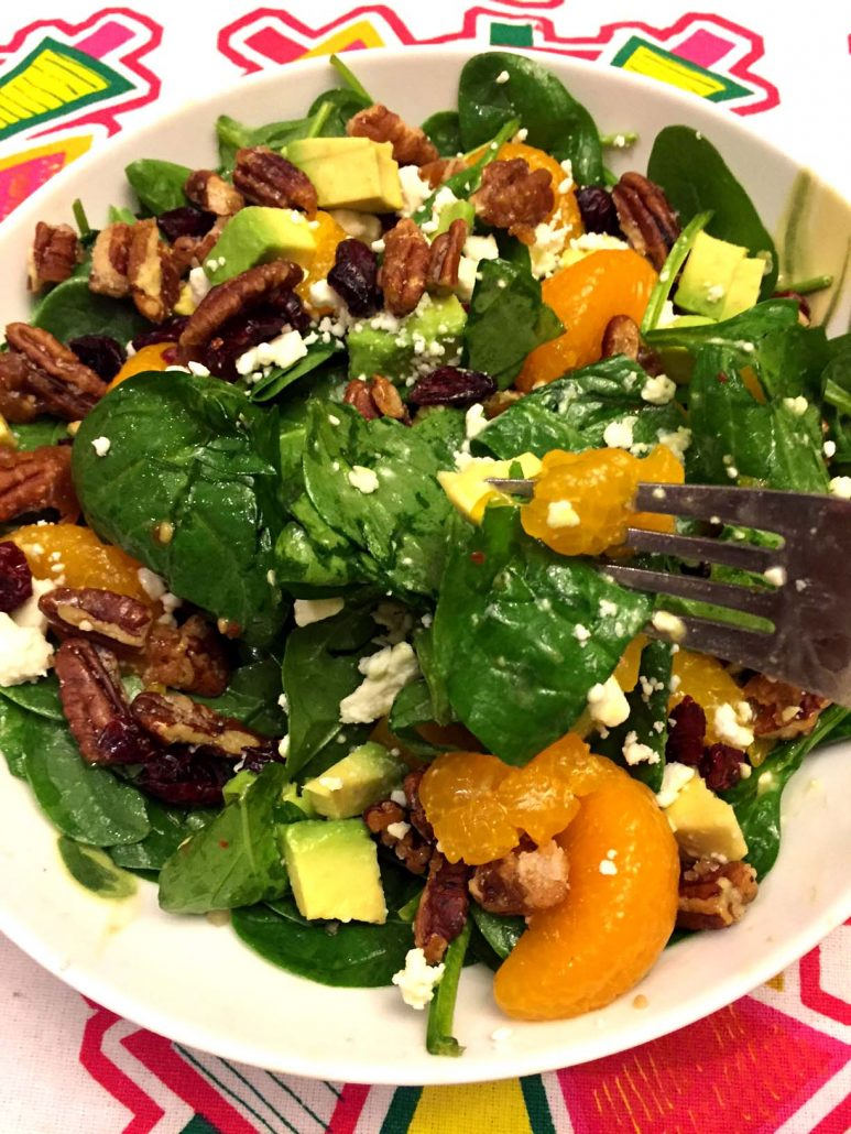 Holiday Salad With Cranberries And Candied Pecans