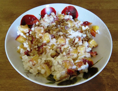 Cottage Cheese With Peach And Walnuts – Melanie Cooks