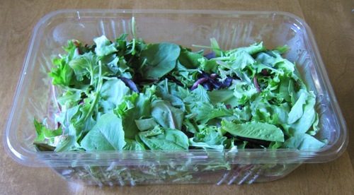 open box of salad greens