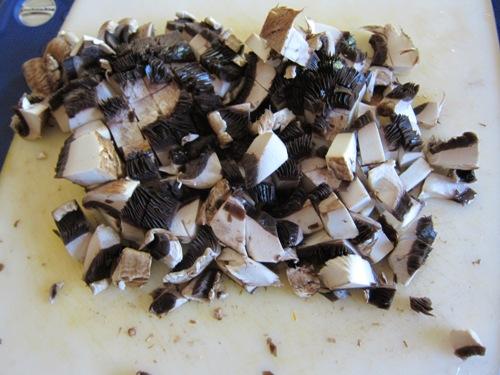 Mushrooms for the shrimp stir-fry