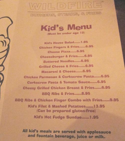 wildfire kids menu