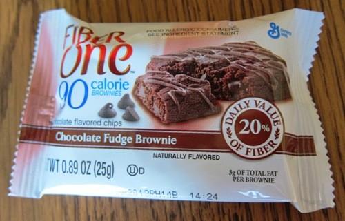 fiber one 90 calorie chocolate fudge brownie in a wrapper