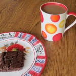 fiber one 90 calorie brownie with a cup of coffee