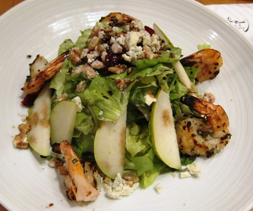pinstripes pear salad with shrimp