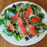 green salad with smoked salmon