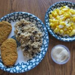 costco veggie patties, quinoa and mango salsa