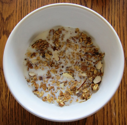chocolate almond granola with milk