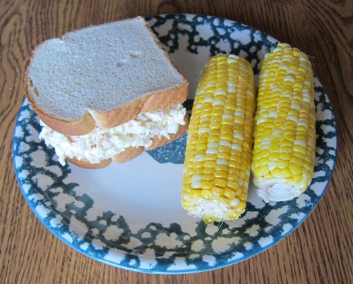 chicken salad sandwich and microwave corn on the cob