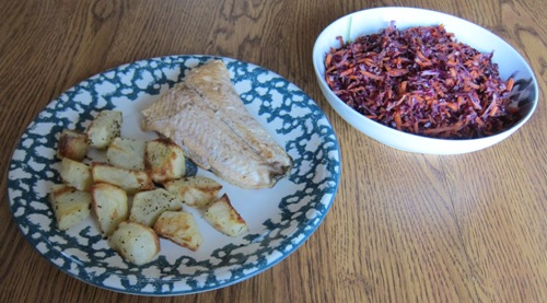 rainbow trout with potatoes and cole slaw