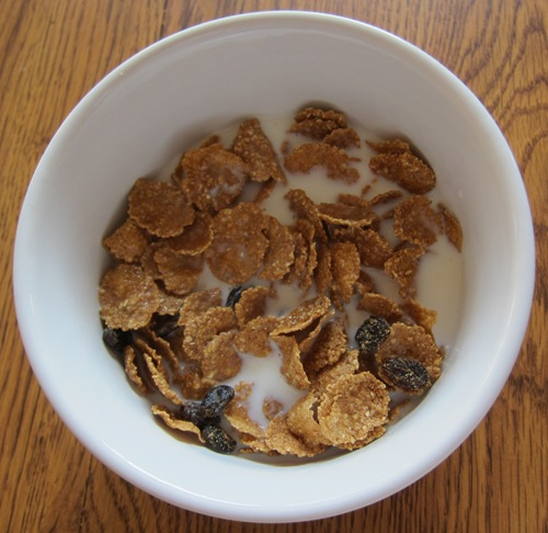 costco kirkland raisin brand cereal with milk