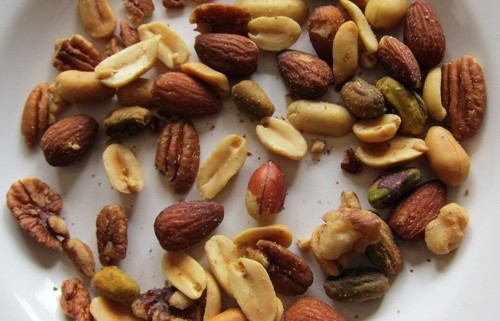 planters nut snack mix nuts on a plate