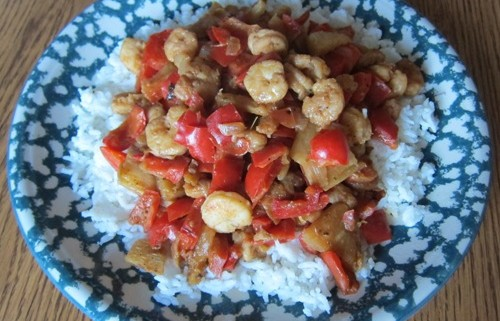 shrimp stir fry with bell peppers and onions easy recipe