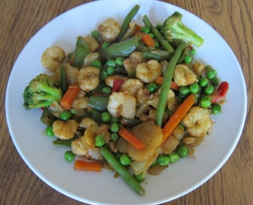 shrimp stir fry with frozen green peas