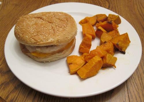 turkey burger dinner with sweet potatoes
